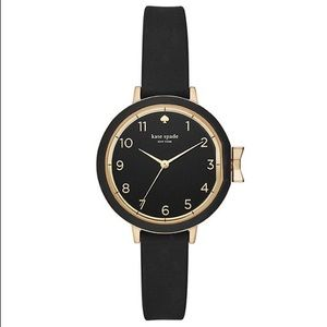 NWT Kate Spade Park Row Black Gold Watch
